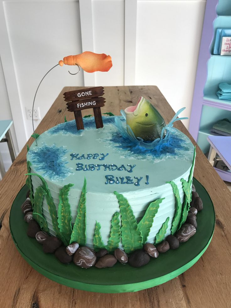 Groovy The Top 23 Ideas About Fishing Birthday Cake Best Round Up Personalised Birthday Cards Epsylily Jamesorg