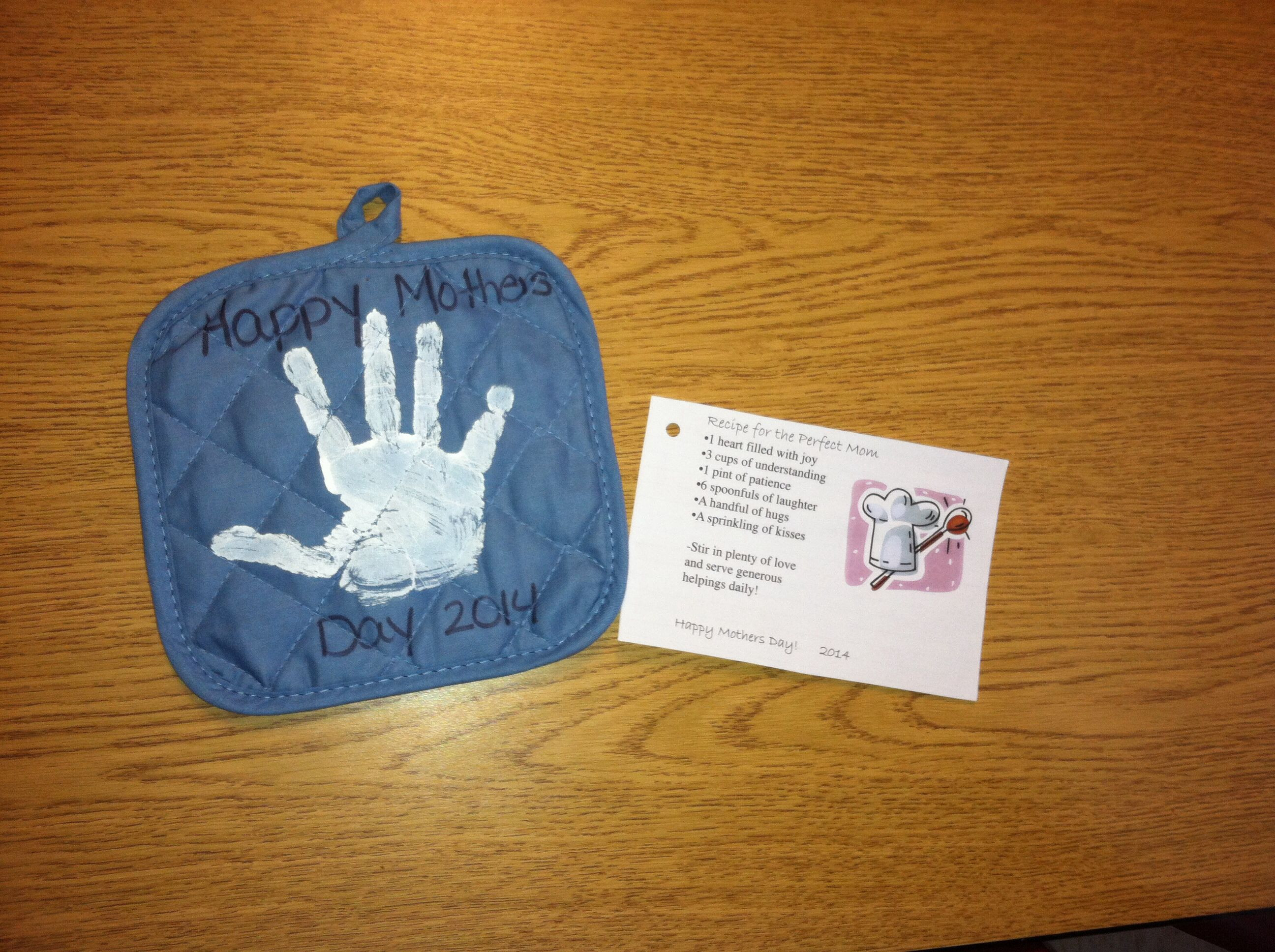 Mothers Day Recipe Craft Mothers Day t we did for our classroom Pot holder and